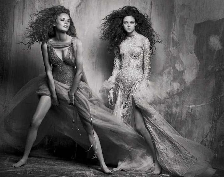 Rianne van Rompaey and Natalie Westling by Peter Lindbergh - Vogue Italia september 2017