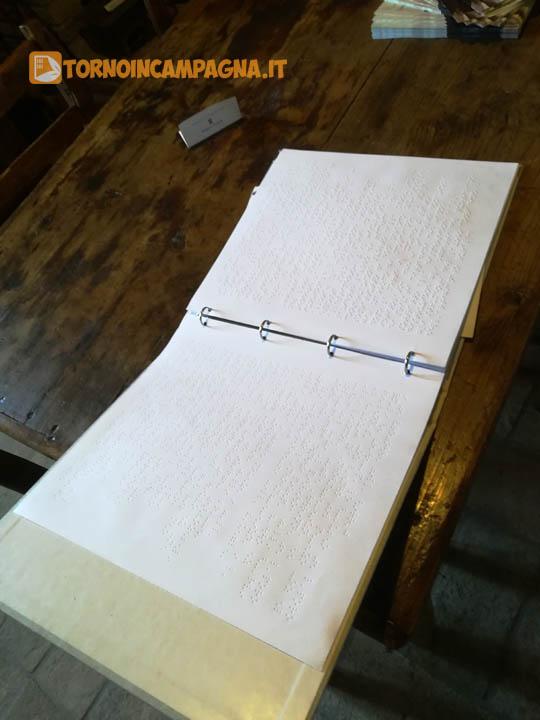 Il catalogo in caratteri Braille per i non vedenti