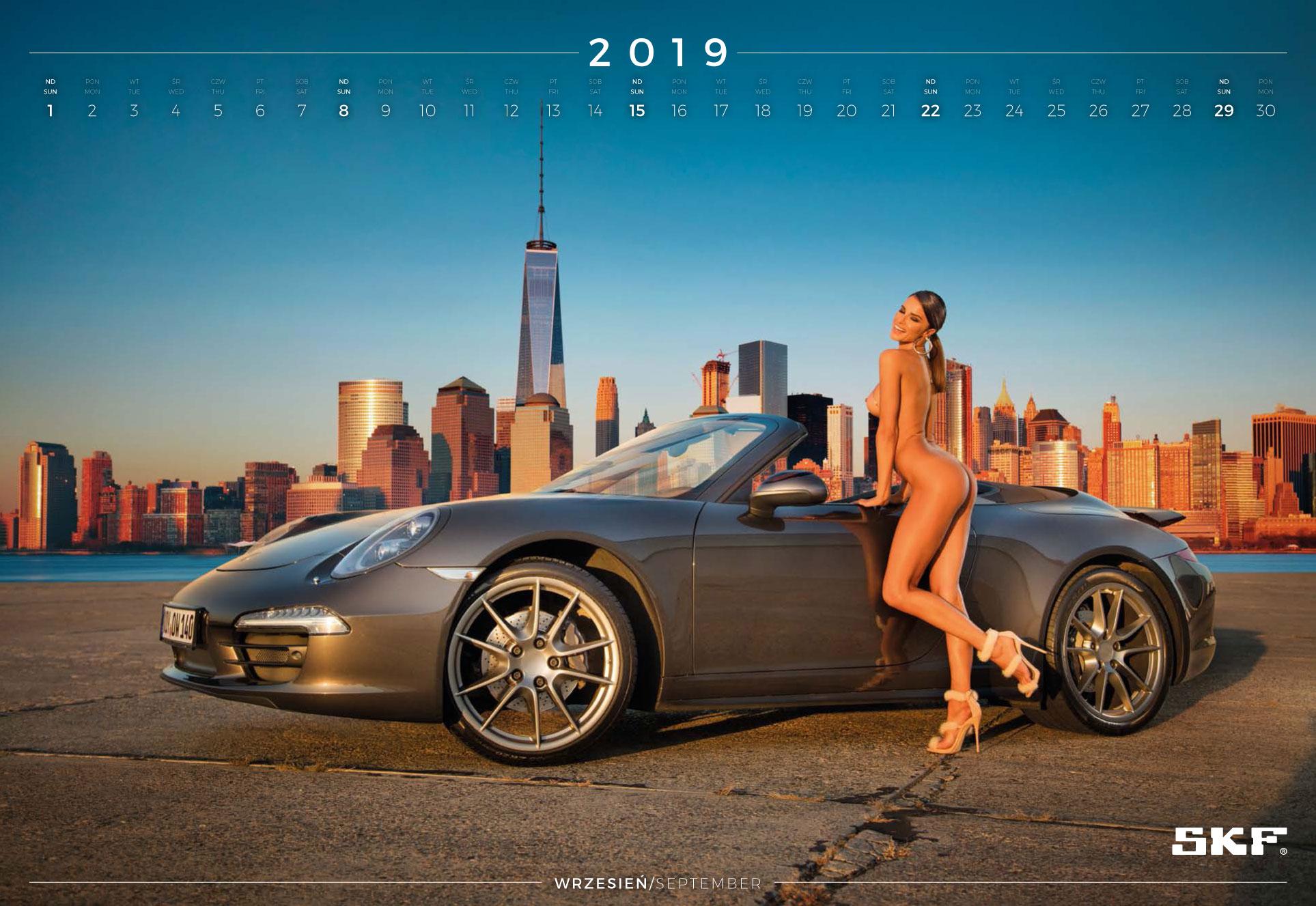 сентябрь - эротический календарь 2019 Inter Cars SA / польский дистрибьютор автомобилей, сопутствующих товаров и запчастей