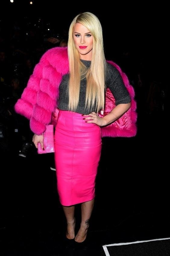 Neon pink leather skirt-1420