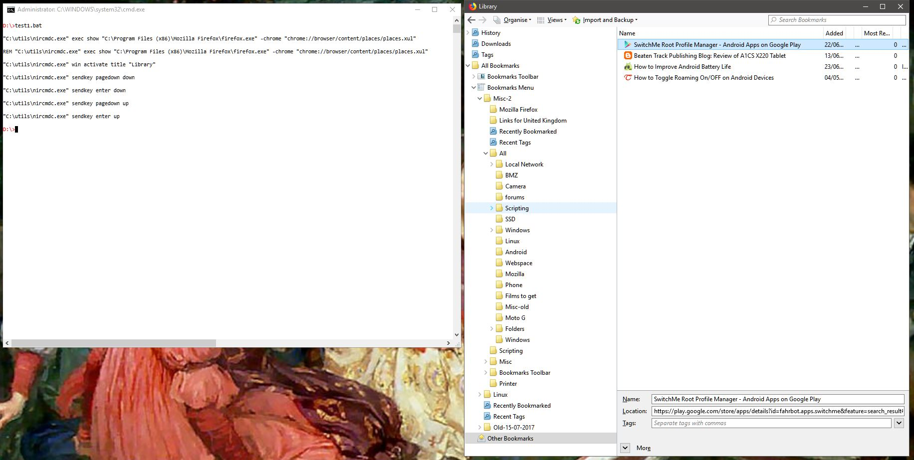 Get to Other Bookmarks in Firefox using NirCmd?