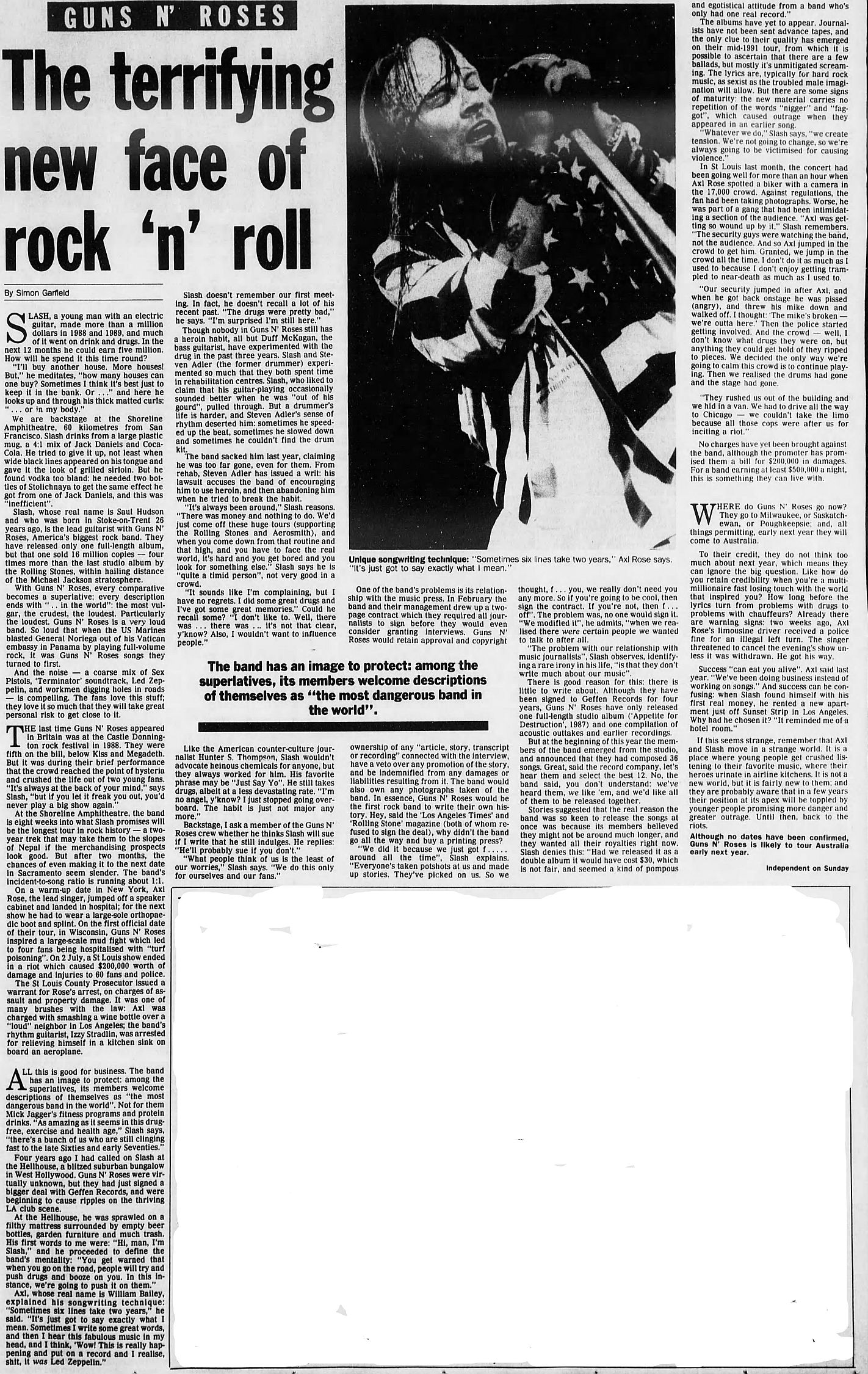 1991.08.DD - The Age/Independent on Sunday - The terrifying new face of rock 'n' roll (Slash) KhMcotNR_o