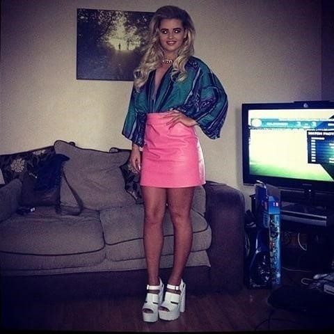 Neon pink leather skirt-4931