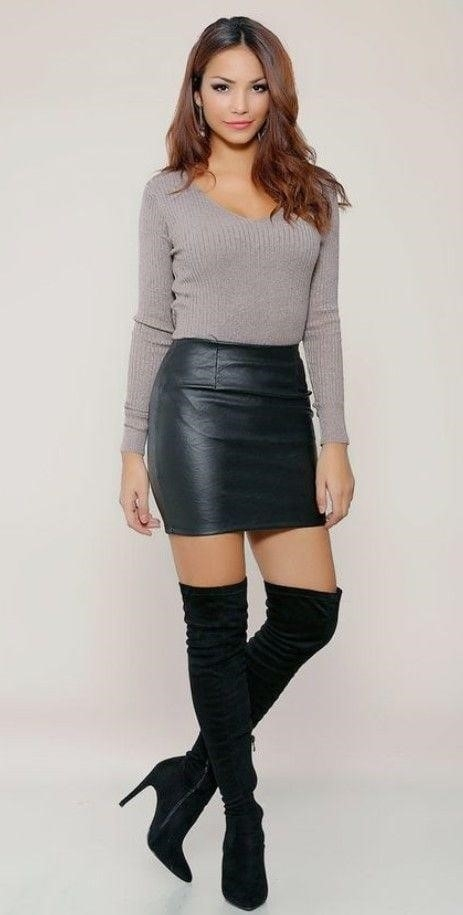 Sexy leather mini skirt-5173