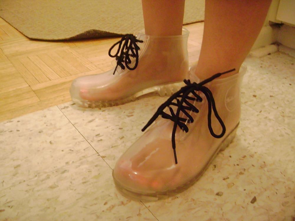 Womens white rain boots-5971