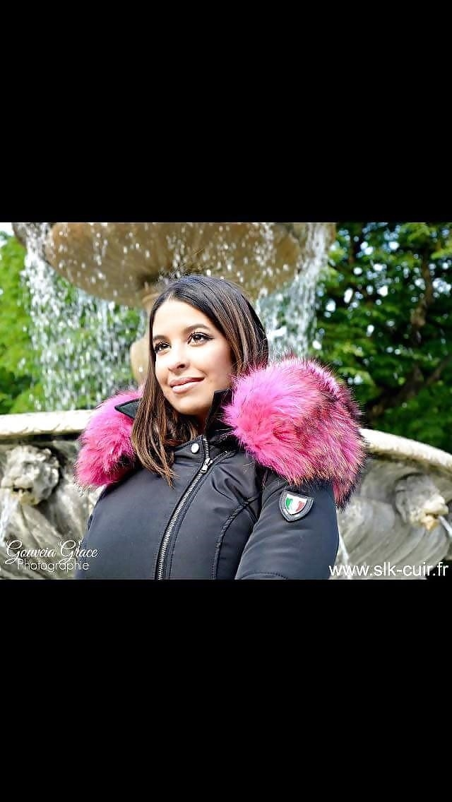 Jean jacket with brown fur-7164