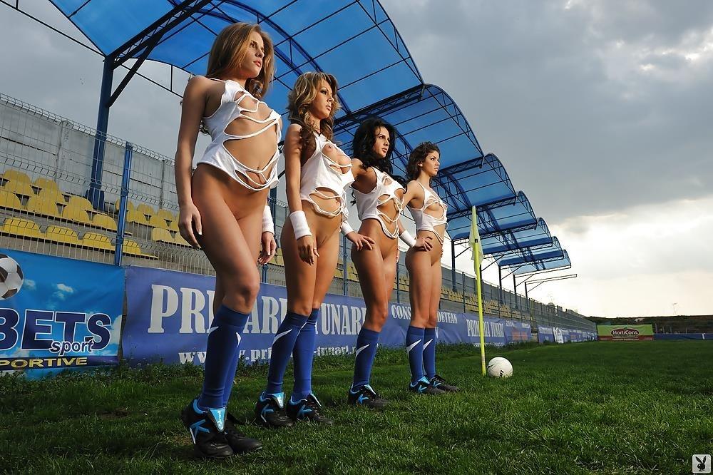 Girls naked playing football-2137