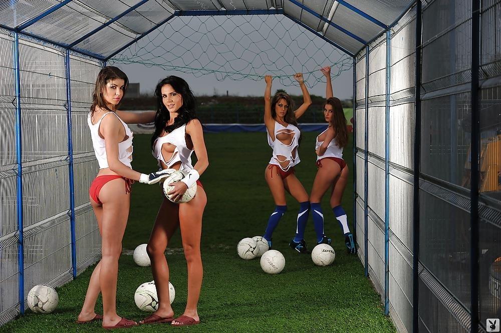Girls naked playing football-7570