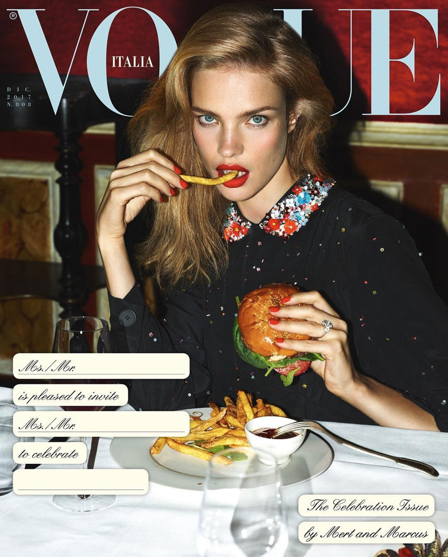cover / Vogue Italia December 2017 - The Celebration Issue / Bella Hadid, Sara Sampaio, Irina Shayk, Anja Rubik, Natasha Poly, Anna Ewers, Joan Smalls, Lily Aldridge, Mariacarla Boscono and other by Mert Alas and Marcus Piggott